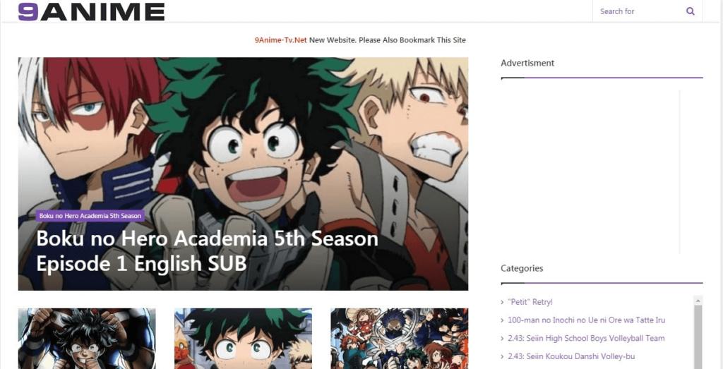 Screenshot of 9anime webpage