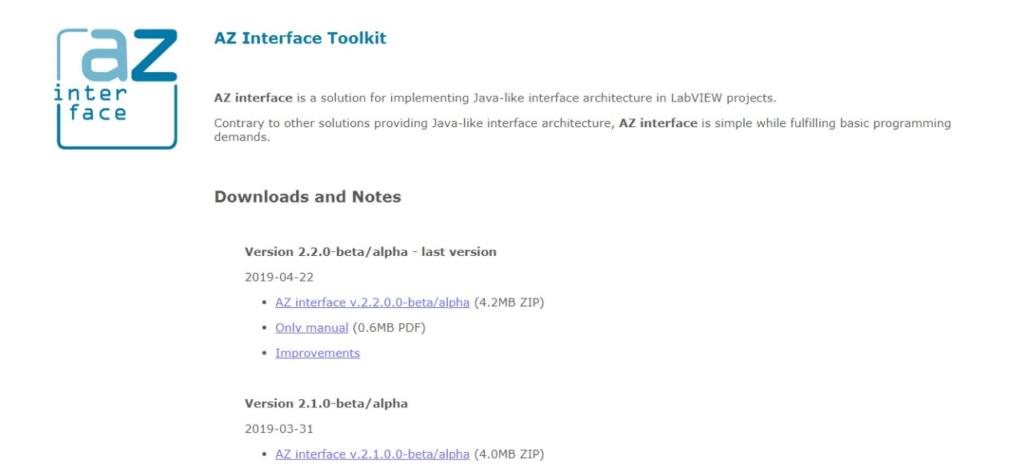 A-Z Interface homepage screenshot