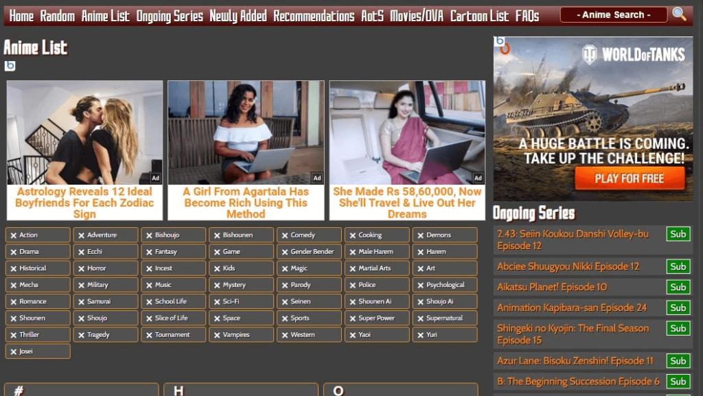 Aniwatcher website homepage screenshot