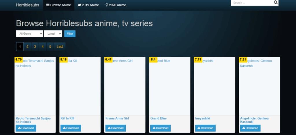 horriblesubs website homepage screenshot