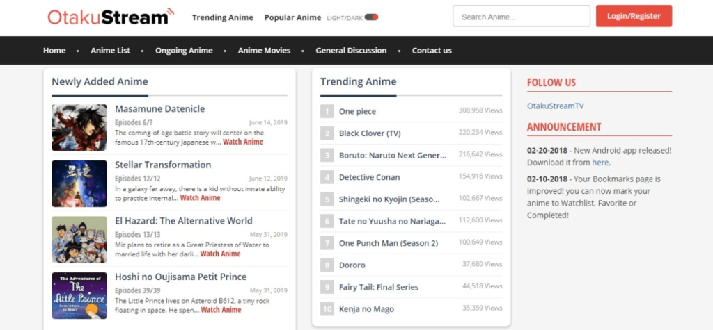 otaku anime website homepage screenshot