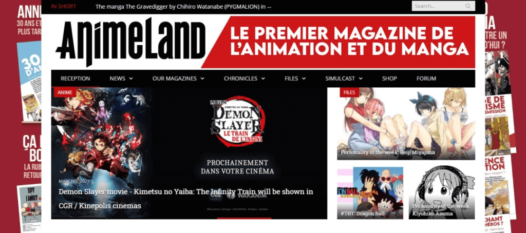 animeland websites screenshot